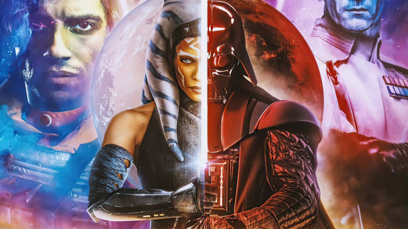 Wallpaper Art Ahsoka Tano Darth Vader Star Wars The Clone Wars Poster Background Download Free Image